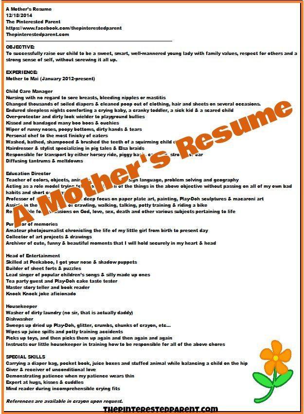 a mother u0026 39 s resume  u2013 the pinterested parent
