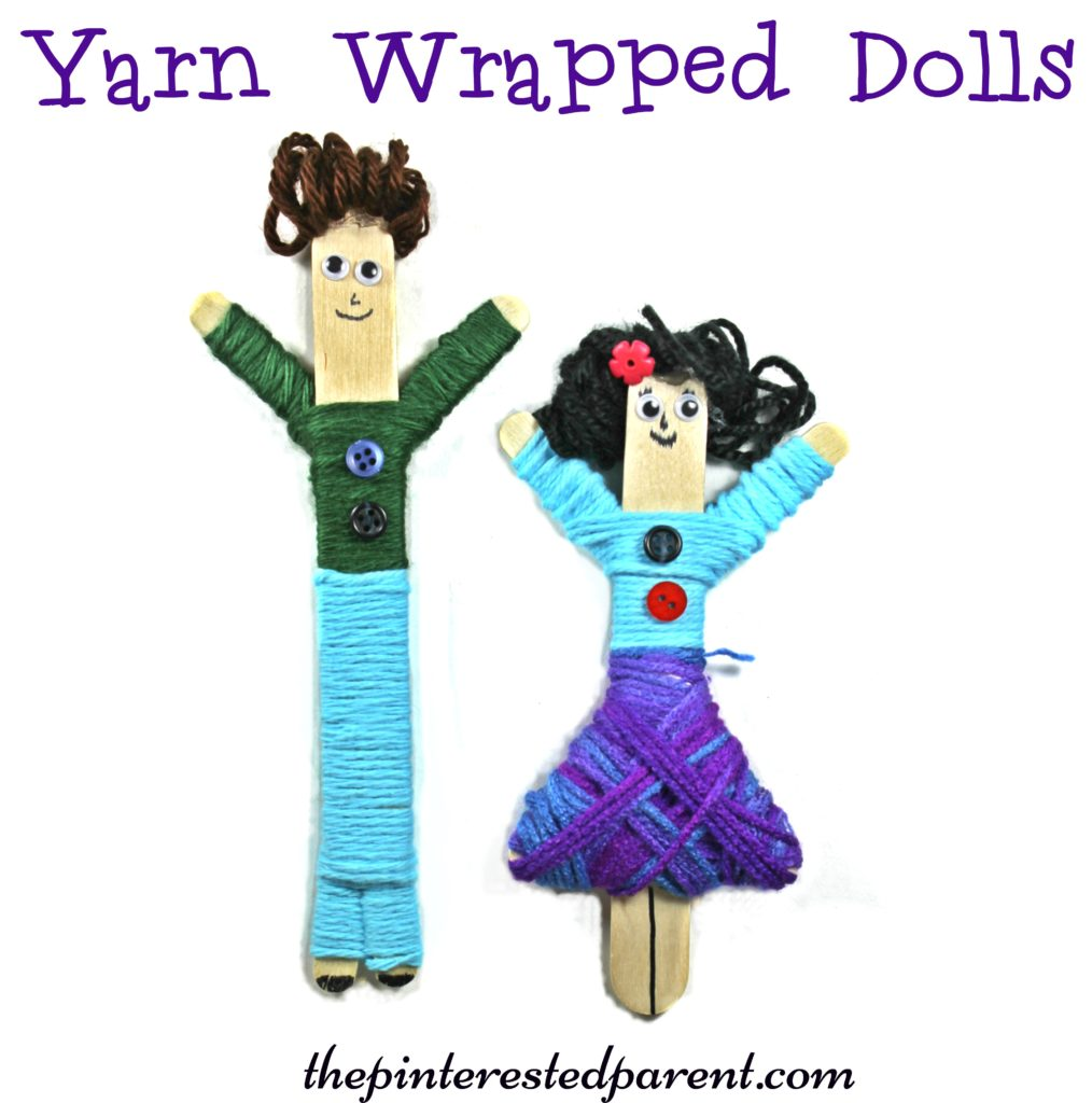 Yarn Wrapped craft stick dolls. A cute craft with fine motor skills. Kids will love to make & play with these. Arts & Crafts for children.