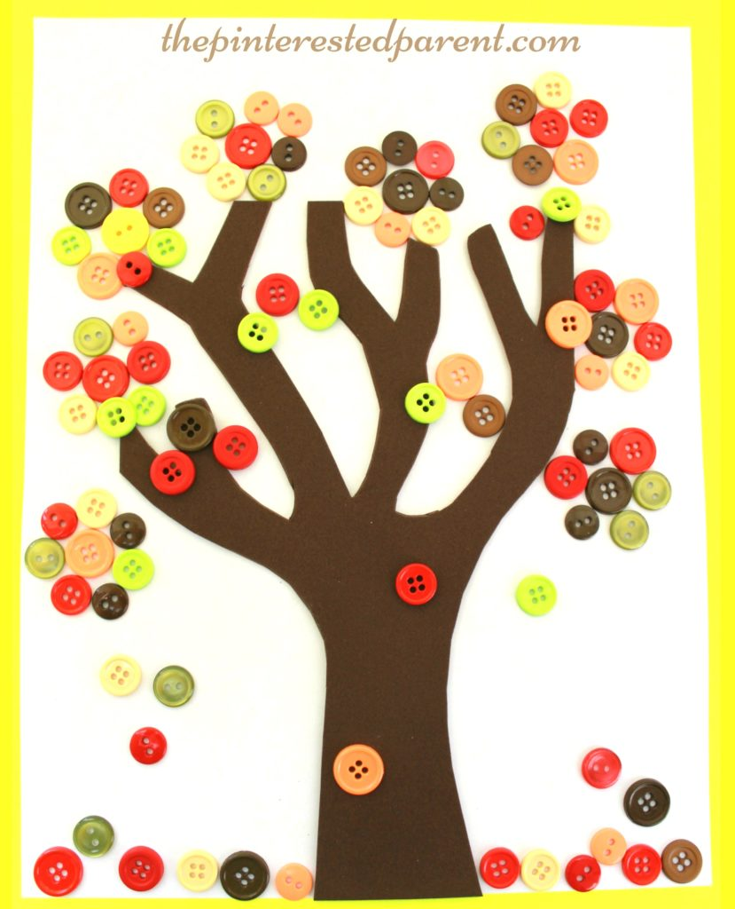 Fall Button Falling Leaf Tree Craft - autumn arts & crafts for kids.