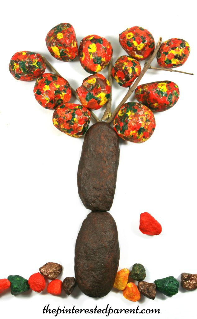 Fall autumn trees made from painted rocks - kid's arts & crafts made from nature.