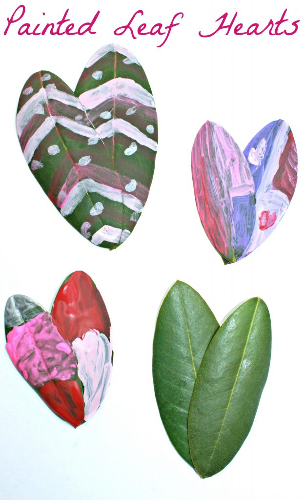 These painted leaf arts are a lovely piece of process art that are perfect for preschoolers and kids. These would be a fun arts & crafts project for Valentine's Day.
