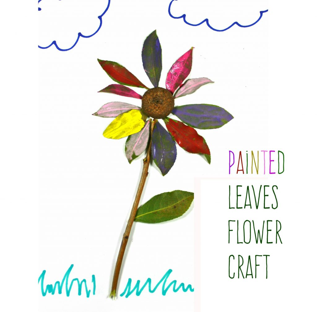 Painted leaves flower craft for kids. Nature arts and crafts for the spring.