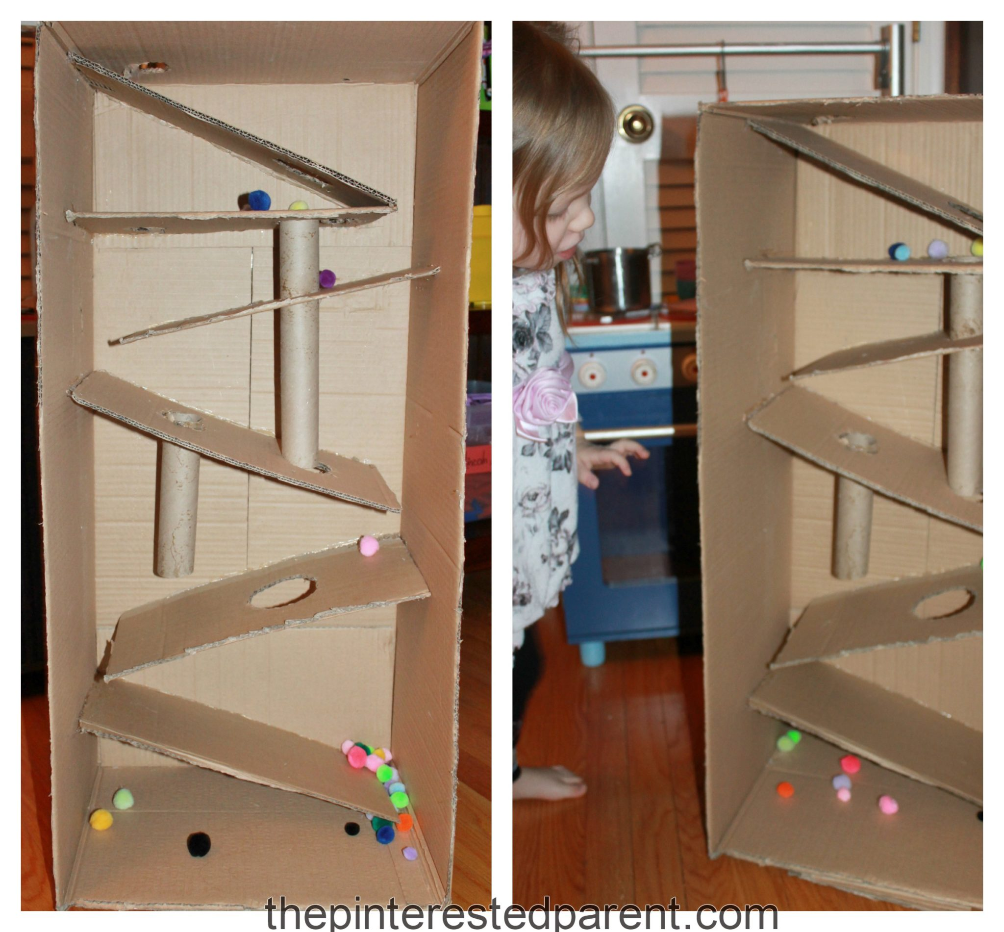 Cardboard box marble run the pinterested parent for Large cardboard cut out numbers