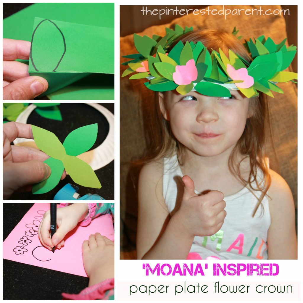 Moana Inspired Paper Plate Flower Crown The Pinterested Parent