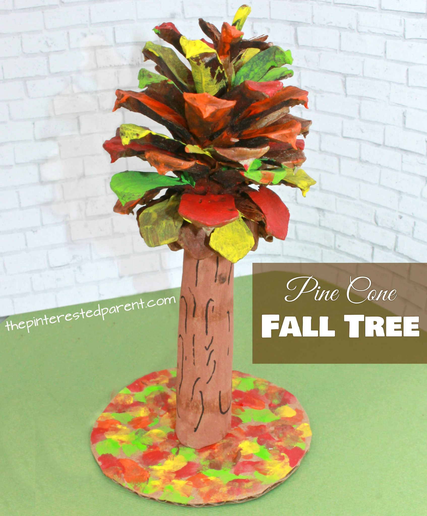 Pine cone fall tree craft the pinterested parent for Pine cone art projects
