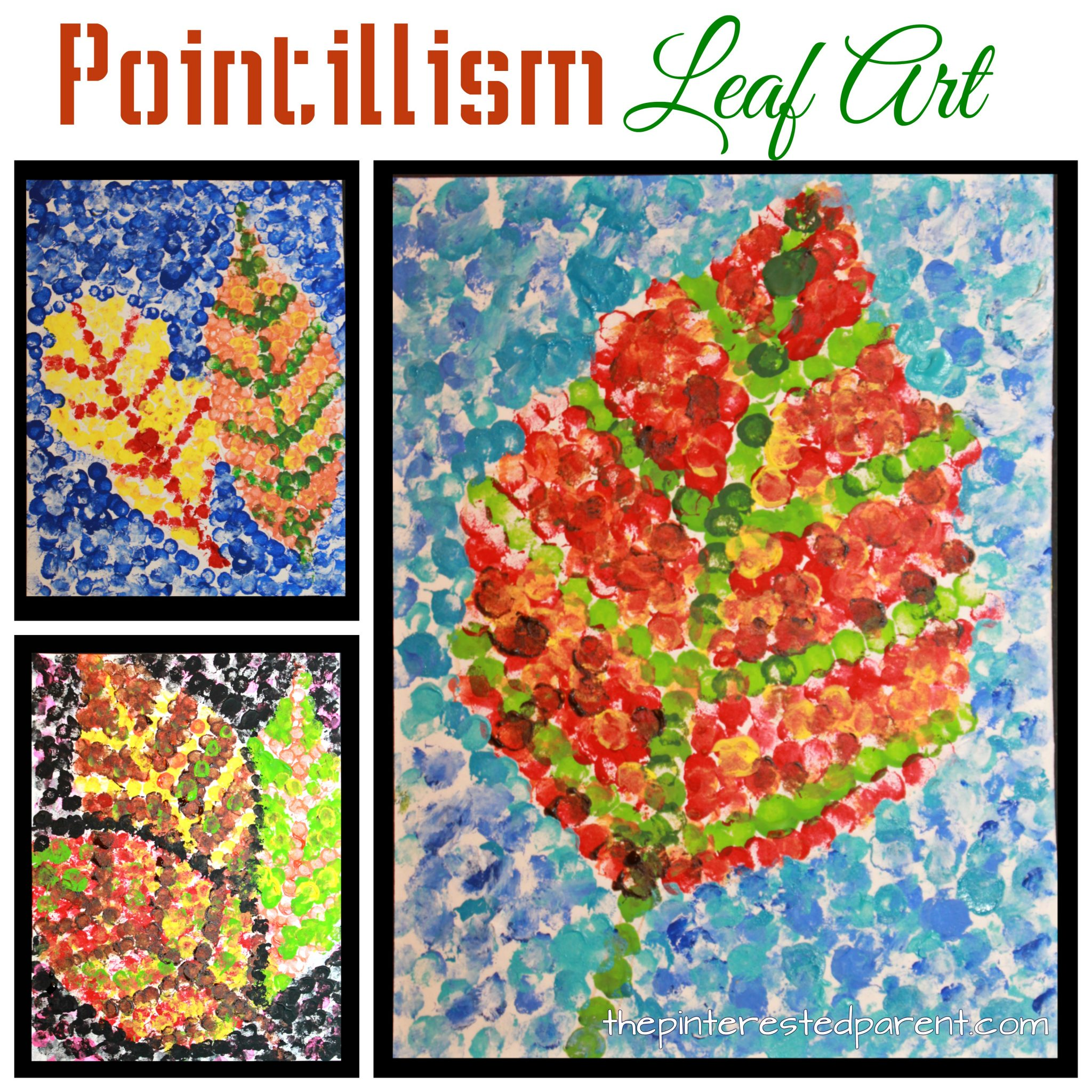 Art Ideas With Leaves: Pointillism Fall Leaf Art